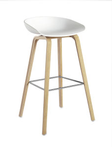 Plastic PP Hay Bar Counter Stool with Solid Wood Base pictures & photos