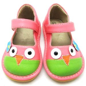 Carton Bird Baby Girl Squeaky Shoes Soft Sole Leather Inner