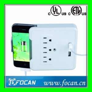3 Outlets Surge Protected Current Tap with USB Ports and Smartphone Cradle pictures & photos