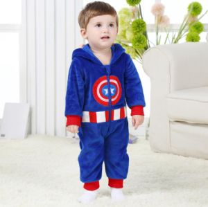 Baby Clothes, 100% Polyester Fleece Shaped Romper / Captain America pictures & photos