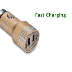 Dual USB Port Car Charger for in-Car Use, with 12-24V Input/5V, 2.4A 1A Output