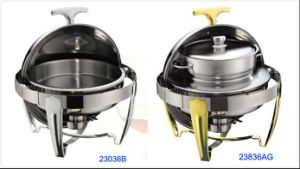 Round Roll-Top Chafing Dish Set with 6L Food Pan/10L Bain Marie pictures & photos