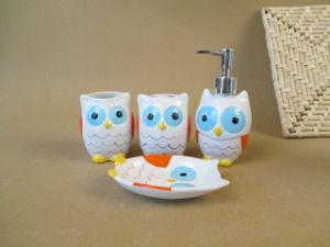 Lovely Owl Design Ceramic Bathroom Accessories of Four Set pictures & photos