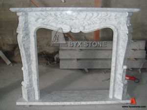 Bianco Carrara White Marble Fireplace Mantel with Flower Carving pictures & photos