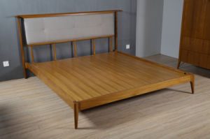 Fabric Headboard Natural Teak Wood King Size Bed (STB-004)