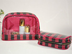 Custom Promotional Cosmetic Bag PVC with Satin Cosmetic Bag pictures & photos