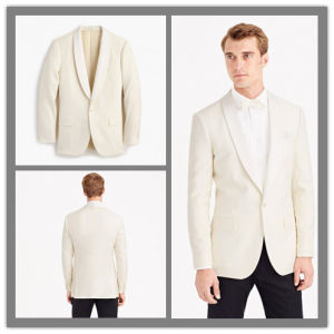 OEM Factory Price Customized One Button Shawl Lapel Men′s Cashmere Wool Ivorysuit Blazer pictures & photos