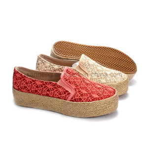 Women Hemp Rope Canvas Shoes with Bling Bling Lace pictures & photos