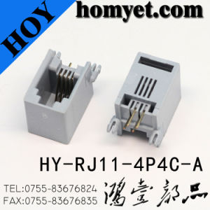 Profesional Manufacturer 4p4c Rj-11 Connector with White Color (HY-RJ11-4P4C-A) pictures & photos