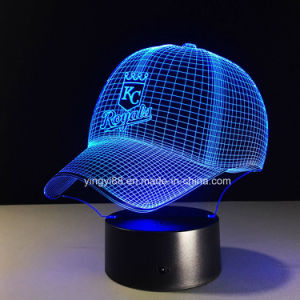 New Baseball Cap Kc Royals 3D LED Night Light 7 Colors Touch Switch Table Desk Lamp pictures & photos