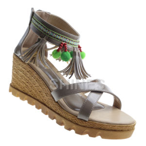 Ladies Fashion High Heel Sandal with Tassels and Bead