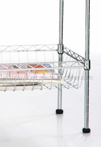Kitchenware 2 Tier Chrome Steel Wire Shelving Storage Rack With 2 Baskets pictures & photos