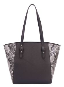 New Large Women Snake Handbag Tote Shoulder Shopper Shopping Bag Black