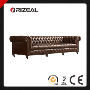 Orizeal Cambridge Genuine Leather Sofa with Deep Tufted and Bold Scroll Arms (OZ-LS-2015) pictures & photos