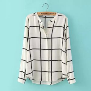 OEM Plus Size Long Sleeve Fat Women Stripe Blouse pictures & photos