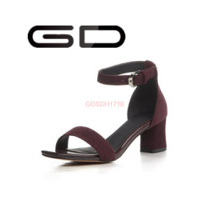 Factory Supply Simple Style Handmade Leather Sandals High Heel pictures & photos