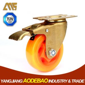 Light Duty Golden Plating Brake PVC Caster Wheel pictures & photos