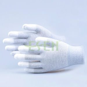 ESD White PU Finger Tip Coated Carbon Glove, Anti-Static PU Coating Gloves pictures & photos