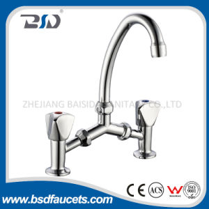 Dual Handles Chrome Bridge Design Swiving Spout Kitchen Faucet pictures & photos