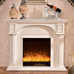 Simple European White Wood Heater Electric Fireplace with Ce (332) pictures & photos