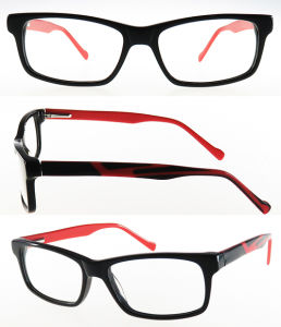 Rectangle High Quality Acetate Ready Stock Optical Frame with Colorful Temple pictures & photos