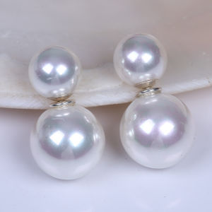10mm and 14mm Round Sea Shell Double Side Pearl Earring pictures & photos