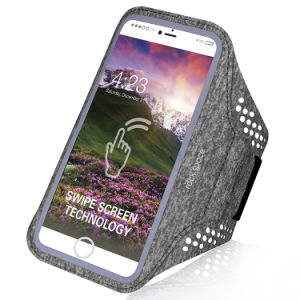 New Material Heather Grey Phone Armband with Reflective Stripe pictures & photos