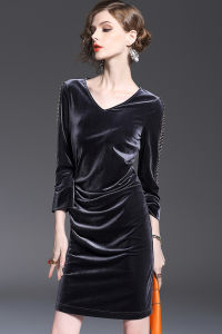 Haute Couture Women′s V-Neck Sexy Nail Bead Set Auger Pleuche Dress