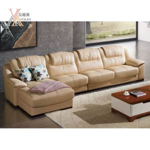 Top Grain Beige Leather Sofa with Chaise (1613A)