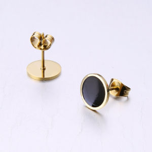 Star Fashion Jewelry Black Agate Stainless Steel Stud Earrings pictures & photos