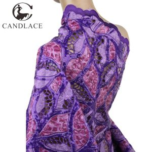 Newest Design Purple Hand Cut Organza Lace Fabric pictures & photos