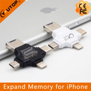 4 in 1 Multi Microsd TF Card Reader for iPhone Lightning + Type-C+Micro USB +USB (YT-R006) pictures & photos