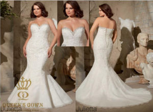 Embroidered Appliques on Net Edged with Crystal Beading Mermaid Plus Size Wedding Dress