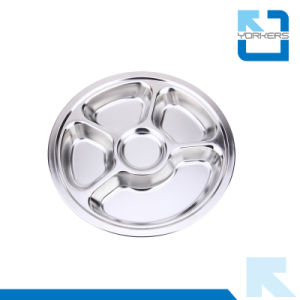 Tableware Stainless Steel School Round Shape Lunch Plate pictures & photos