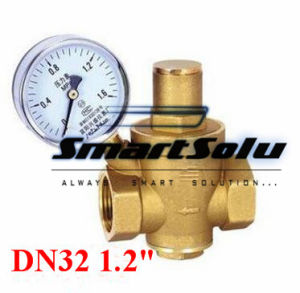 "1.2"" (1-1/4) Brass Dn32 Water Pressure Regulator Valve with Gauge pictures & photos"