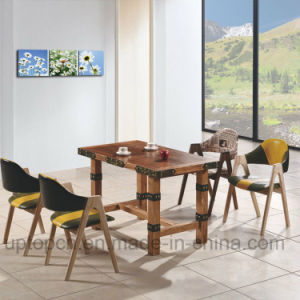 Wooden Restaurant Furniture Set with Rectangle Table and Double Color Chair (SP-CT692) pictures & photos