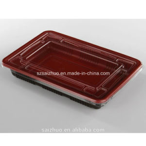 500ml Rectangle Red Black Disposable Sushi Container (SZ-L-27) pictures & photos