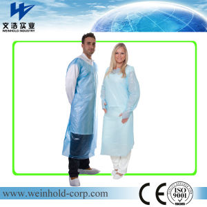 Disposable PE Apron with Sleeves with Open Back pictures & photos