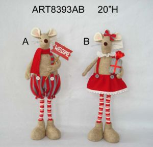 Standing Boy and Girl Christmas Decoration Mouse - 2asst pictures & photos