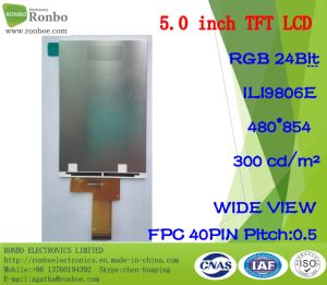 "5.0"" 480*854 RGB 40pin Customized 300CD/M2 TFT LCD Display pictures & photos"