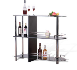 High Class Flat Pack Chrome Stainless Steel Glass Coffee Bar Table with Three Wine Shelves