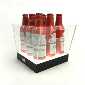 Stainless Steel Acrylic Illuminated Sparkling Gold Wine Bottle Display pictures & photos