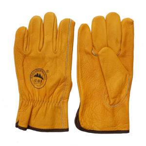 Golden Cow Grain Leather Safety Drivers Gloves pictures & photos