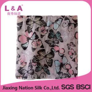 Woman Butterfly Design Printed Polyester Voile Scarf