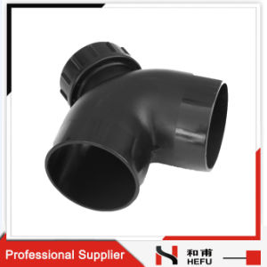 Drainage Pipe Fitting Black Plastic HDPE Material 90 Degree Elbow with Inspection Mouth pictures & photos