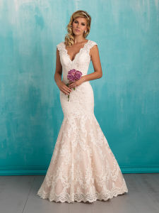 Grateful Mermaid Lace Cap Sleeve Wedding Bridal Dresses pictures & photos