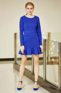 Long Seleeve Solid Bodycon Ponte Winter Mini Dress with Pep Hem pictures & photos