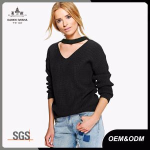Ladies Long Sleeve Ribbed Choker V Neck Jumper Sweater pictures & photos