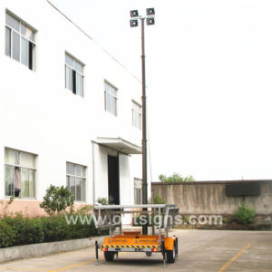 Rechargeable Pneumatic Telescopic Mast Construction IP65 Portable 12V Trailer Cheap Light Tower, Mobile Solar LED Light Tower pictures & photos