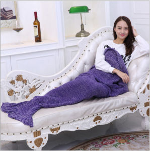 Soft Comfortable Home Solid Mermaid Cotton Blanket pictures & photos
